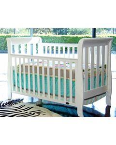 Babyhood: Classic Sleigh Cot + My First Breathe Eze Innerspring Mattress + 5pcs Bedding Set - [White] - 36% OFF!!
