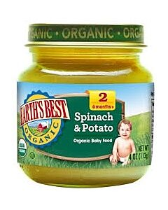 Earth's Best: Organic Spinach & Potatoes (Stage 2 - From 6 Months) 4oz - 17% OFF!