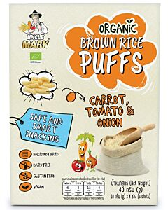 Uncle Mark: Organic Sprouted Brown Rice Puff (10gm x 4's) - Carrot, Tomato & Onion - 11% OFF!!