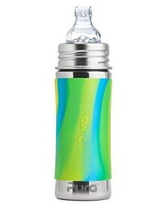 Pura Kiki: Stainless Steel Sippy Cup Bottle With Sleeve 11oz / 325ml (Aqua Swirl) - 20% OFF!