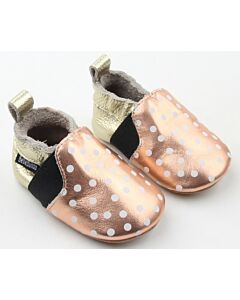 Bebebundo: Sunset Dots Shoes in Gold & Cream - Size 2 [11.8cm / 6 to 9 Months] - 16% OFF!!