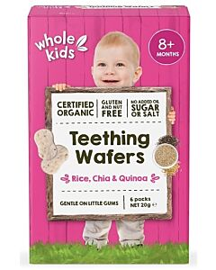 Whole Kids: Organic Teething Wafers - Rice, Chia & Quinoa 20gm [6 packs] (From 8+ Months) - 10% OFF!!