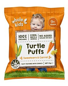 Whole Kids: Organic Turtle Puffs - Sweetcorn & Carrot 10gm (From 9+ Months) - 10% OFF!!