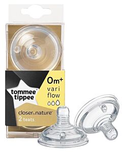 Tommee Tippee: Closer to Nature Teat - Vari Flow (0 mths +) (2pk) - 27% OFF!!