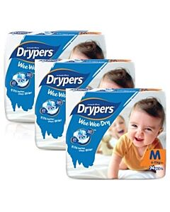 Drypers Wee Wee Dry M74 (6-11kg) *3 pack bundle* - Mega Pack - (RM28.60 EACH!) - 28% OFF!!