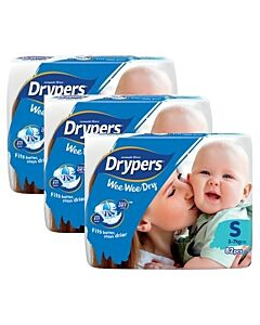 Drypers Wee Wee Dry S82 (3-7kg) *3 pack bundle* - Mega Pack (RM28.60 EACH!) - 28% OFF!!
