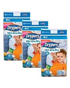 Drypers Wee Wee Dry XL50 (12-17kg) *3 pack bundle* - Mega Pack - (RM28.60 EACH!) - 28% OFF!!