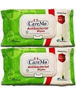 Care Mo Antibacterial Wipes Lid 70's x 2